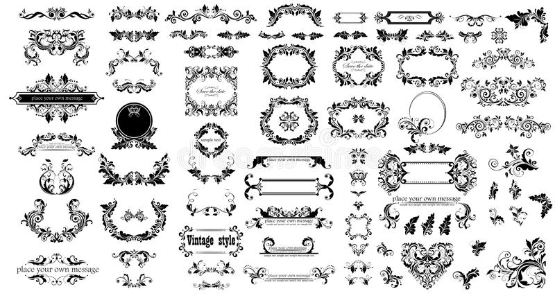 Mega set of decorative vintage floral black frames, title and headers for wedding and heraldic design, fashion labels, ceremony, m royalty free illustration