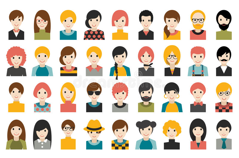 Mega set of diverse people heads, avatars isolated on white background. Different clothes, hair styles. Flat stylized cartoon vector stock illustration