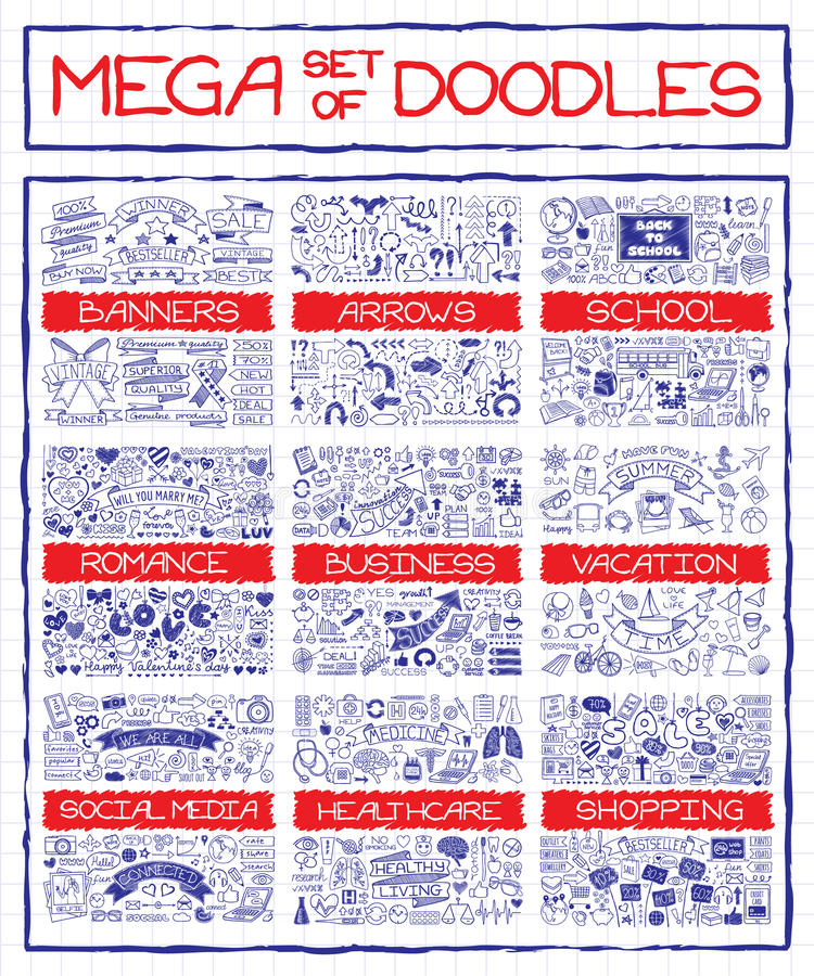 Mega set of doodle icons. Mega set of doodle social, business, medicine, vacation and school icons, banners, arrows and speech bubbles. Hand drawn pen on royalty free illustration