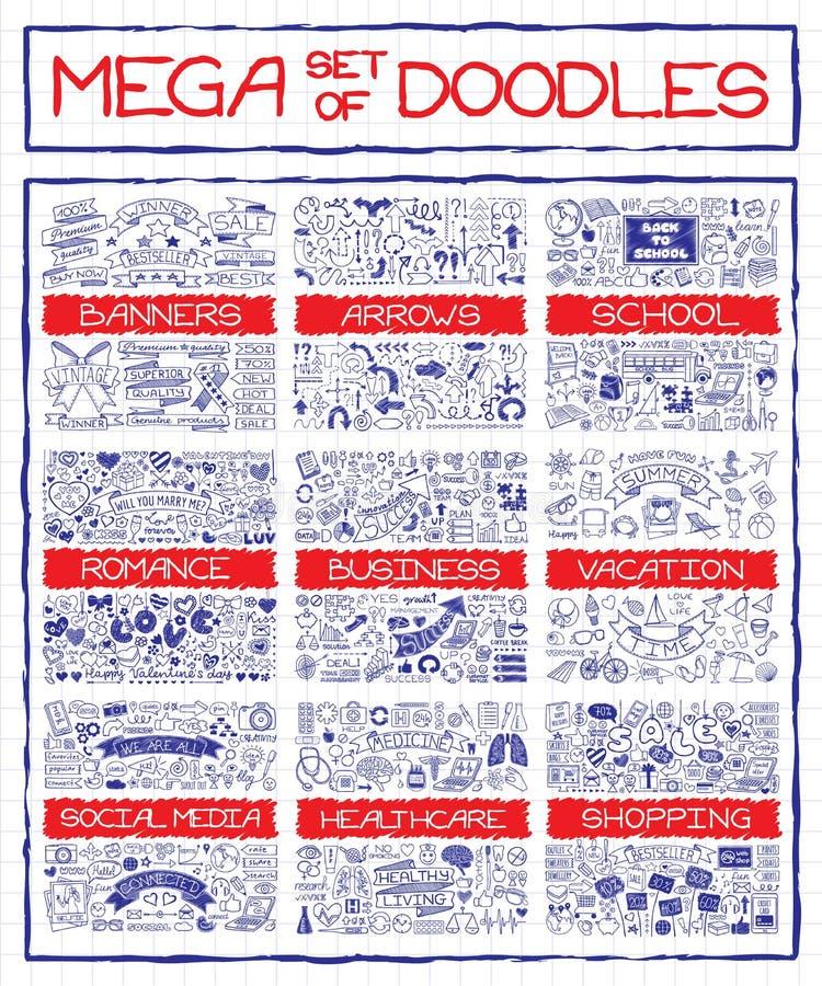 Mega set doodle ikony royalty ilustracja