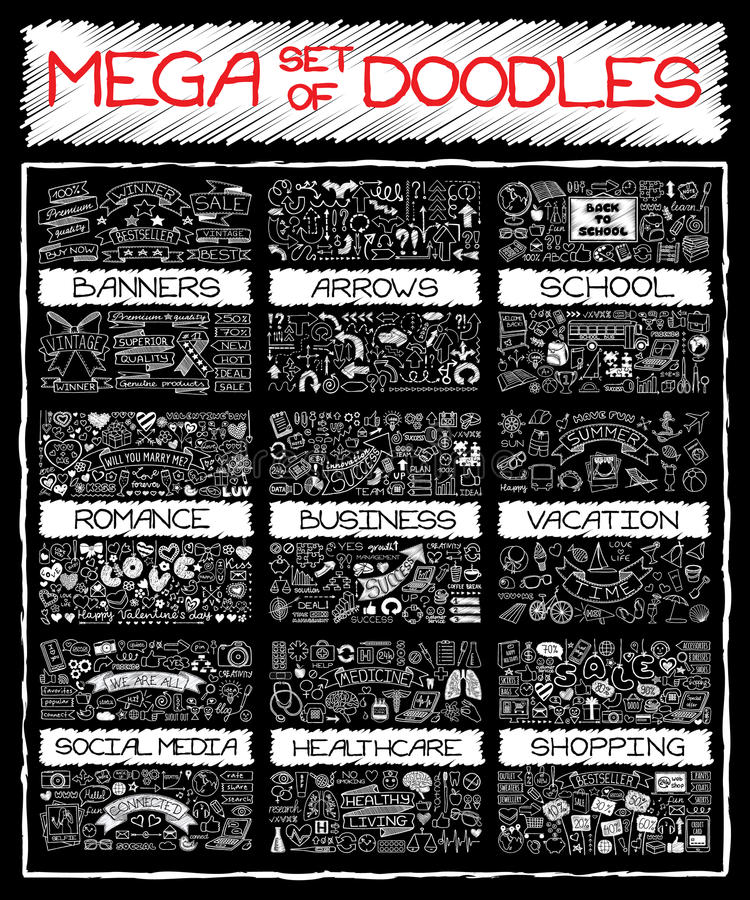 MEGA set of doodles. Chalk board hand drawn symbols. Super collection of banners, arrows, back to school, romantic love, business and finance, vacation, social vector illustration