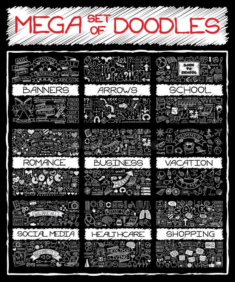 MEGA set of doodles vector illustration