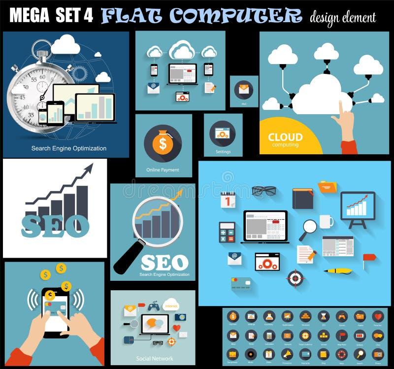 Mega Set Flat Computer Design Vector Illustration royalty free illustration