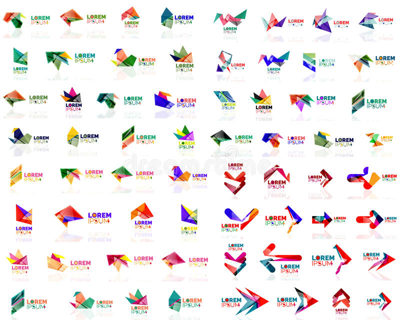 Mega Set Of Geometrical Abstract Logos Stock Vector Illustration