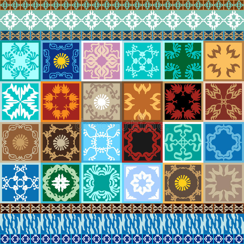 Mega set. Glazed ceramic tiles with colorful borders. Oriental, Tunisian, Moroccan, Spanish motifs. Geometric ornaments, floral prints, boho stripes. Abstract royalty free illustration