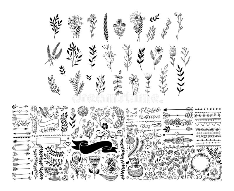Mega set of hand drawing page dividers borders and arrow, doodle floral design elements. Vector illustration big collection royalty free illustration