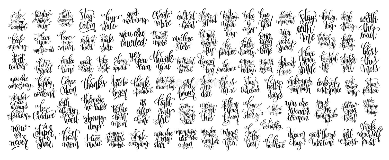 Mega set of 100 hand written lettering motivational quotes. Handwritten positive phrases to print, inspirational typography slogans, calligraphy vector stock illustration
