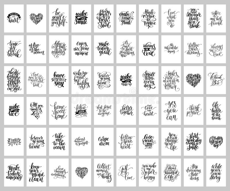 Mega set of 60 hand written lettering positive inspirational quo. Te posters about life, modern calligraphy vector illustration collection vector illustration