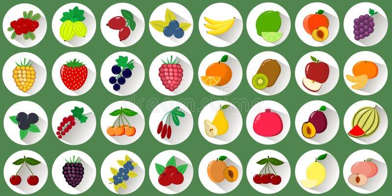 Mega set ikony różnorodne owoc i jagody w białym okręgu z cieniem na zielonym tle Logo, warzywa ilustracja wektor