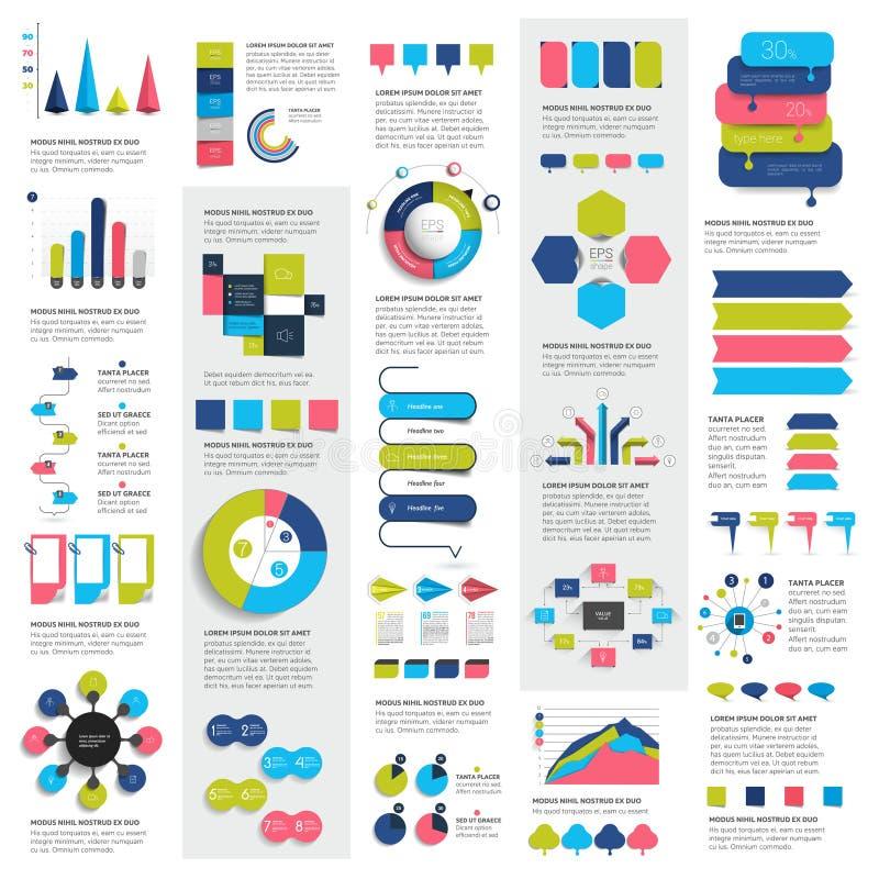 Mega set of infographics elements charts, graphs, circle charts, diagrams, speech bubbles. Flat and 3D design. Vector vector illustration