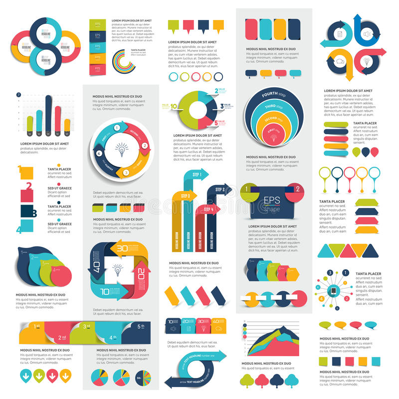 Mega set of infographics elements charts, graphs, circle charts, diagrams, speech bubbles. royalty free illustration