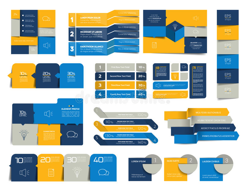 Mega set of infographics elements, schedules, tabs, banners, charts. Minimalistic vector design infographic stock illustration