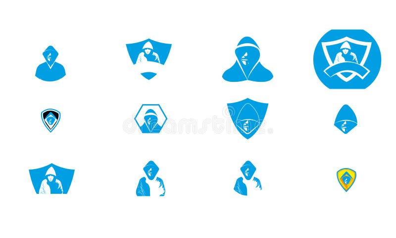 Mega set Insieme di progetti per logo Hacker - Hacker sicurezza cibernetica - Modello di logo per hacker anonimi royalty illustrazione gratis