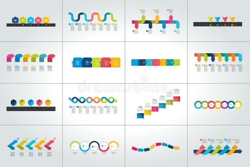 Mega set linia czasu infographic szablony, diagramy, prezentacje ilustracja wektor