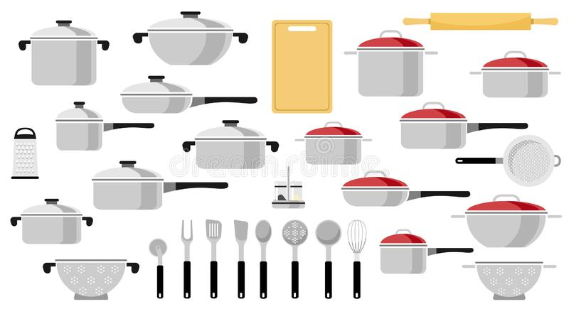 Mega set niecki i kuchni naczynia Wektorowa ilustracja płaski styl ilustracji