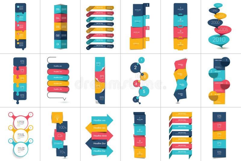 Mega set of Option step by step vertical schedule, tab, banner, bar. stock illustration