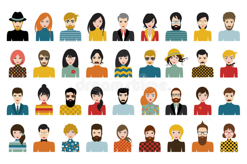 Mega set of persons, avatars, people heads different nationality in flat style stock illustration