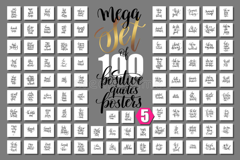 Download Mega Set Of 100 Positive Quotes Posters About Happy Summer Stock  Vector   Illustration Of