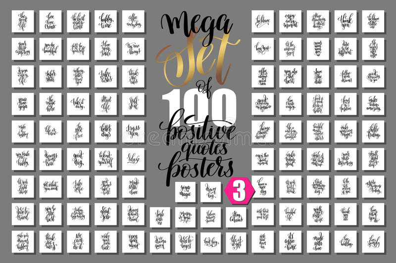 mega set of 100 positive quotes posters, motivational and inspirational phrases royalty free illustration