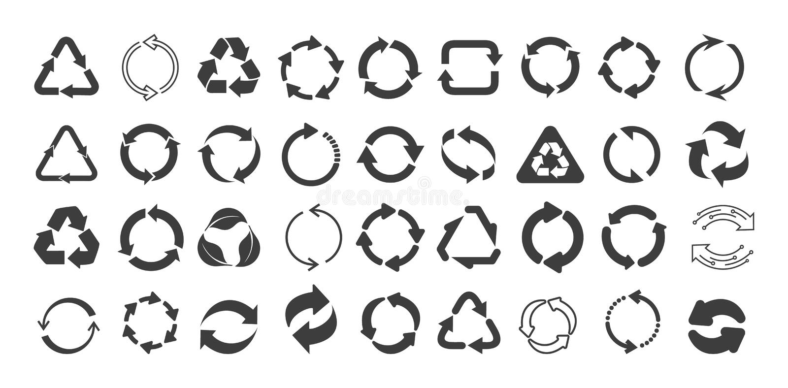 Mega set of recycling flat vector icons. Gray circle arrows flat. Vector illustration. Circle gray arrow sign isolated on white royalty free illustration