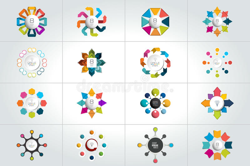 Mega set of 8 steps circle, round infographic templates, diagrams, graph, presentations, chart. Business concept royalty free illustration