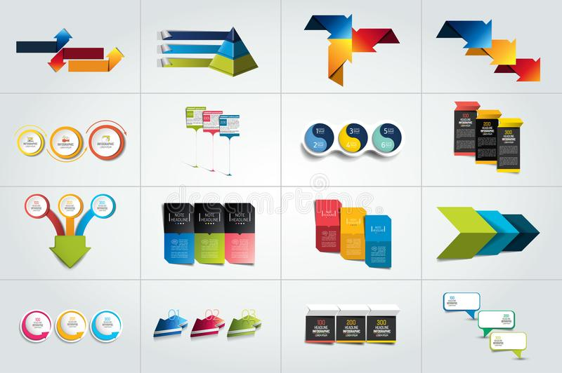 Mega set of 3 steps infographic templates, diagrams. Graph, presentations, chart. Business three concept stock illustration