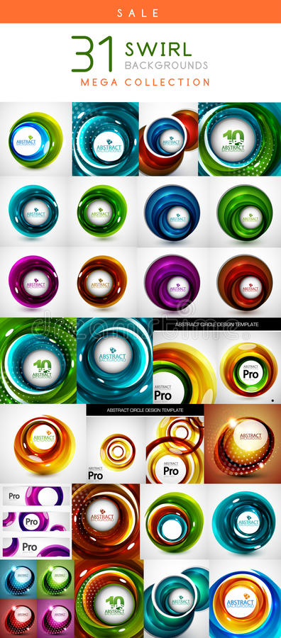 Download Mega Set Of Swirl Circles Abstract Backgrounds Stock Vector - Illustration of beautiful, green: 40724810
