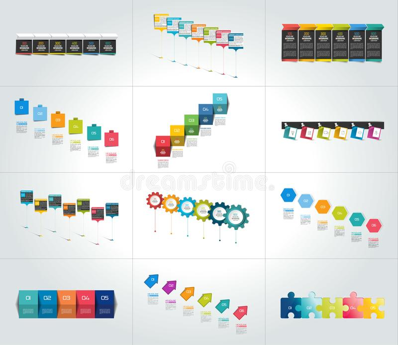 Mega set of timeline infographic templates, diagrams, presentations. Vector illustrations stock illustration