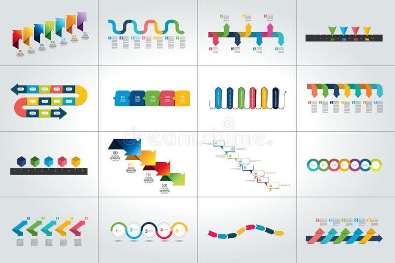 Mega set of timeline infographic templates, diagrams, presentations. Vector illustration stock illustration