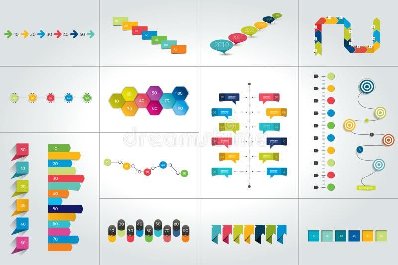 Mega set of timeline infographic templates, diagrams, presentations. Vector illustration royalty free illustration