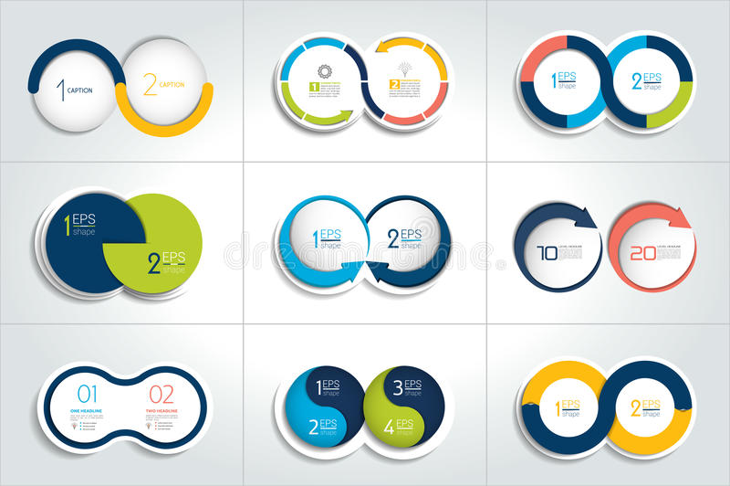 Mega set of two elements, steps chart, diagram, scheme. Circle, round design stock illustration