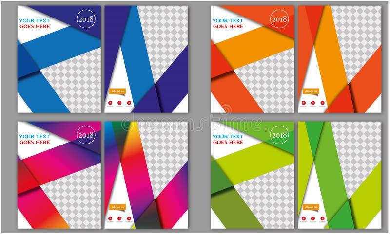 Mega set ulotka szablonu broszurki szablonu sprawozdania rocznego Książkowej pokrywy układu ulotki broszury Letterhead Biznesowy  ilustracji