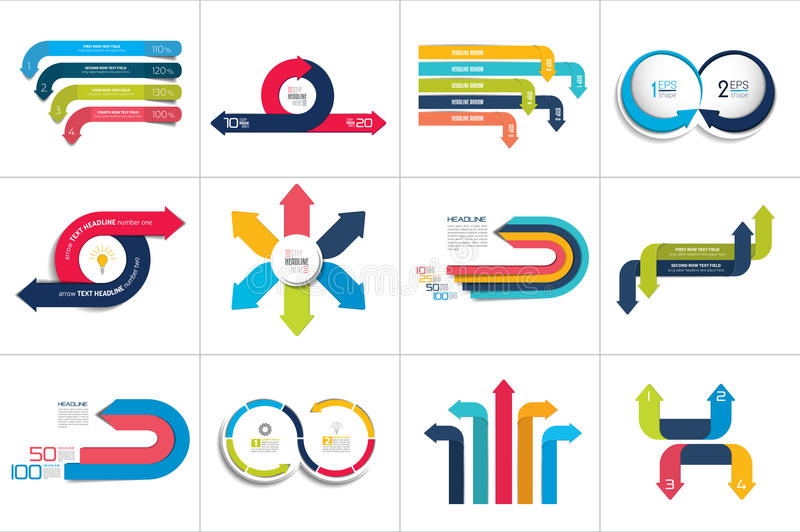 Mega set of various arrows infographic concepts. Vector illustrations stock illustration