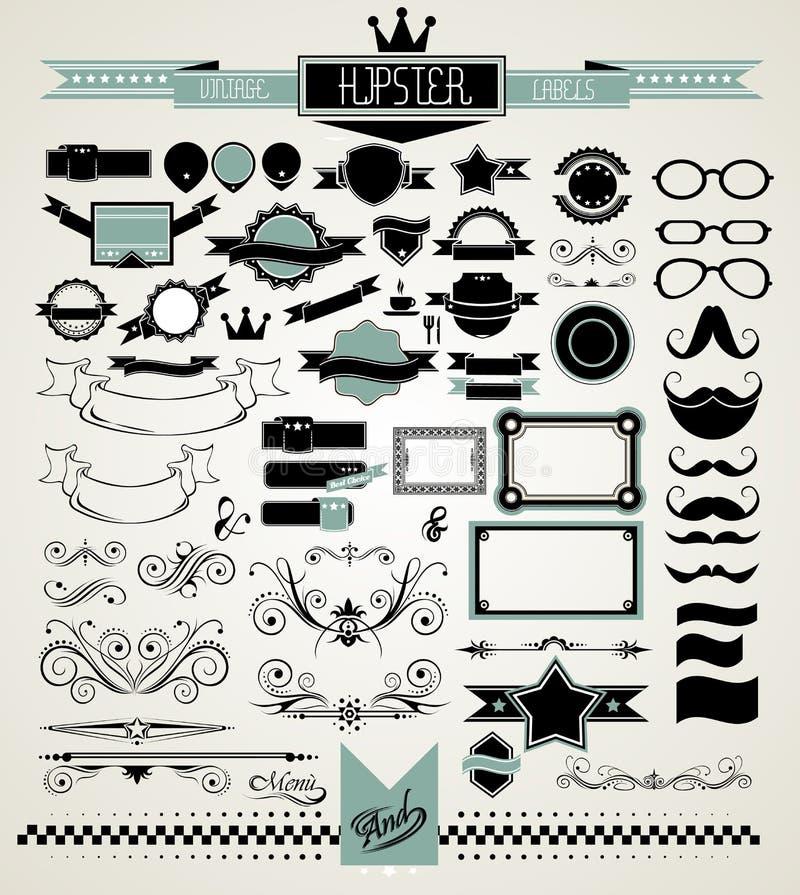 mega set of vintage labels for your hipster designs stock vector