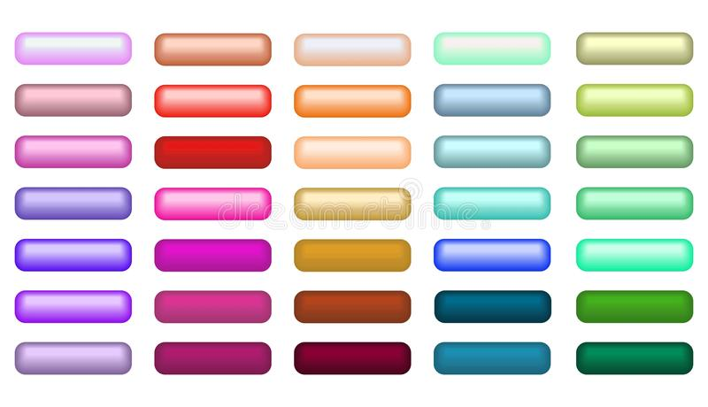 Mega set of web empty buttons in different colors royalty free illustration