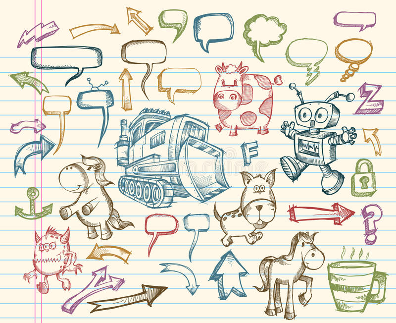 Mega Sketch Doodle Vector Set Royalty Free Stock Photo