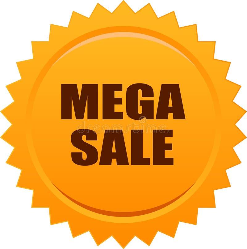 Mega sprzedaży foki znaczka odznaki pomarańcze ilustracja wektor