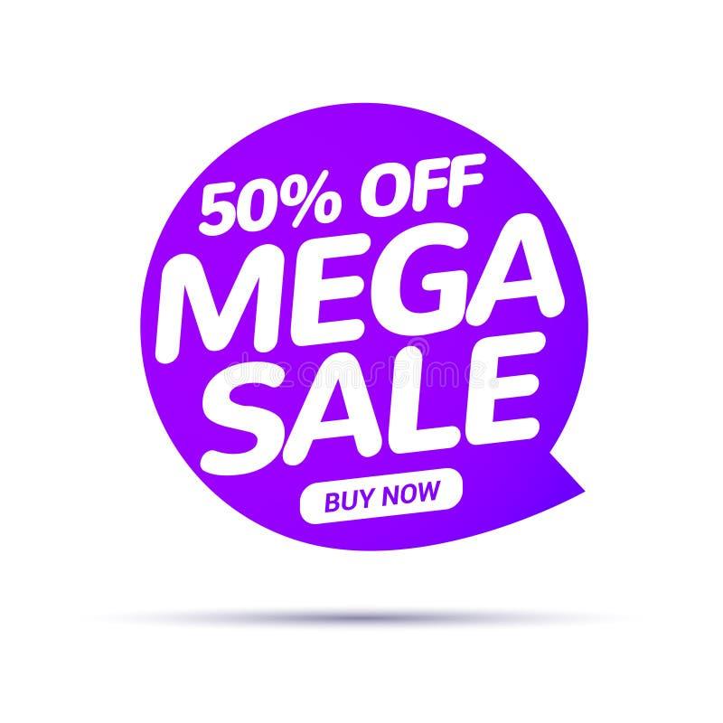 Mega sprzedaży mowy bąbla sztandaru znak Dyskontowy etykietka projekta szablon Biznesowa etykietki promo oferta ilustracji