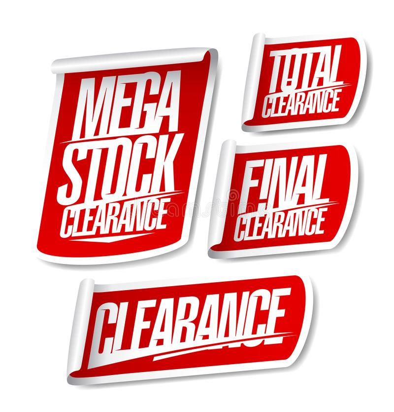 Mega stock clearance, total and final clearance, sale stickers vector illustration