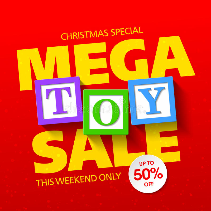 Mega toy sale banner. Mega toy sale Christmas special banner stock illustration