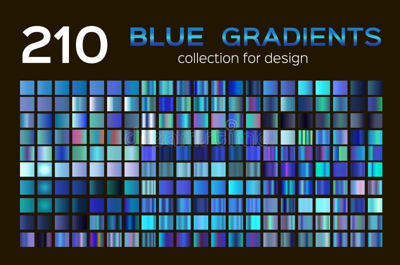 Mega uppsättning av 210 blåa lutningar Blå bakgrundssamling blåa metalllutningar, provkartor Olik graderingdesign vektor illustrationer