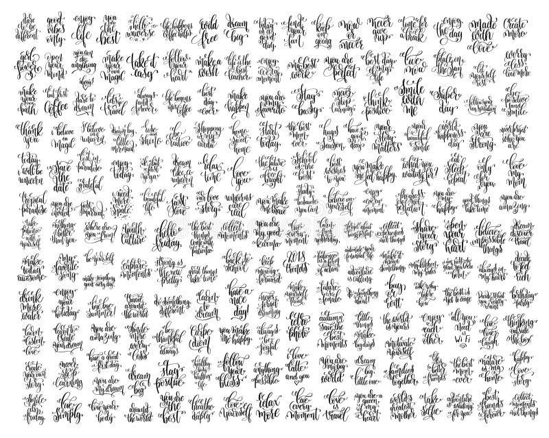 Mega uppsättning av bokstäverinskrift, motivation och inspi för 200 hand vektor illustrationer