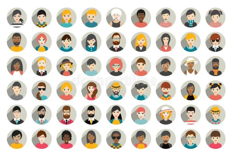 Mega uppsättning av cirkelpersoner, avatars, olik nationalitet för folkhuvud i plan stil royaltyfri illustrationer