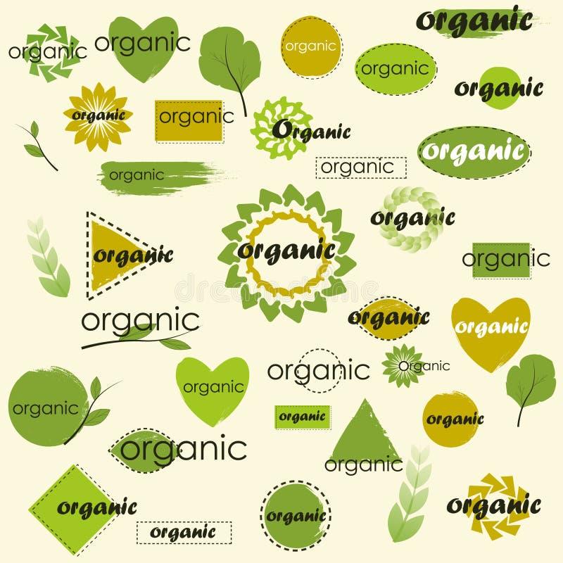 Mega uppsättning av etiketter och logoer för organiska olika variationer royaltyfri fotografi