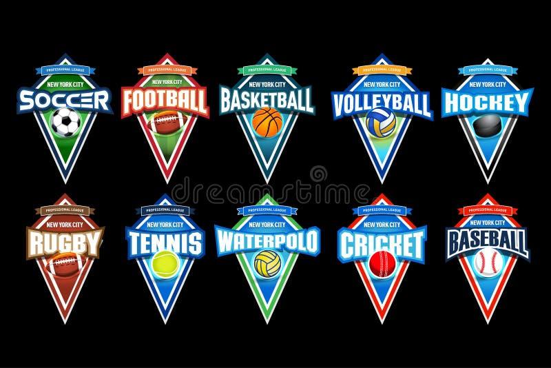 Mega uppsättning av färgrika sportlogoer fotboll, fotboll, basket, volleyboll, hockey, rugby, tennis, waterpolo, syrsa, baseball arkivbild