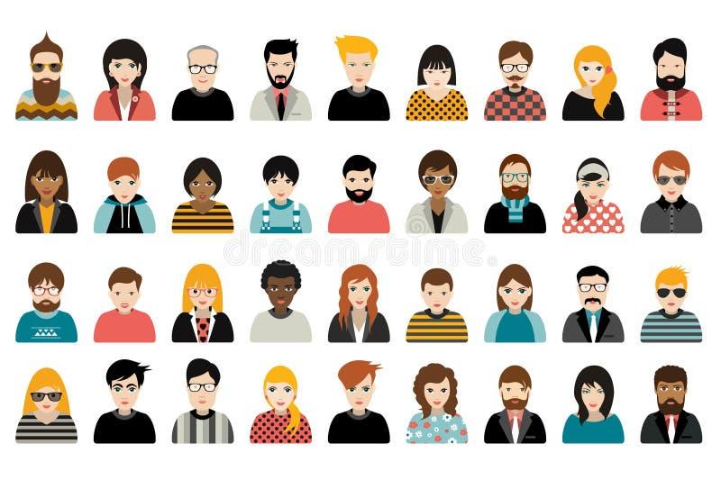 Mega uppsättning av personer, avatars, olik nationalitet för folkhuvud i plan stil stock illustrationer