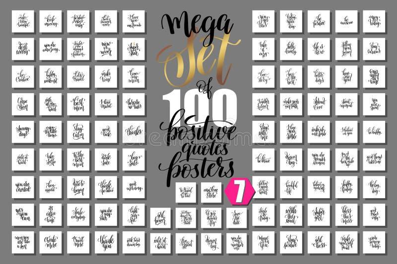 Mega uppsättning av 100 positiva citationsteckenaffischer vektor illustrationer