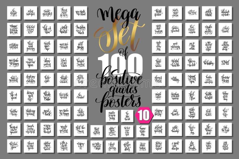Mega uppsättning av 100 positiva citationsteckenaffischer royaltyfri illustrationer