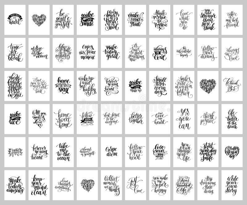 Mega uppsättning av quo för skriftlig bokstäver för 60 hand positiv inspirerande vektor illustrationer
