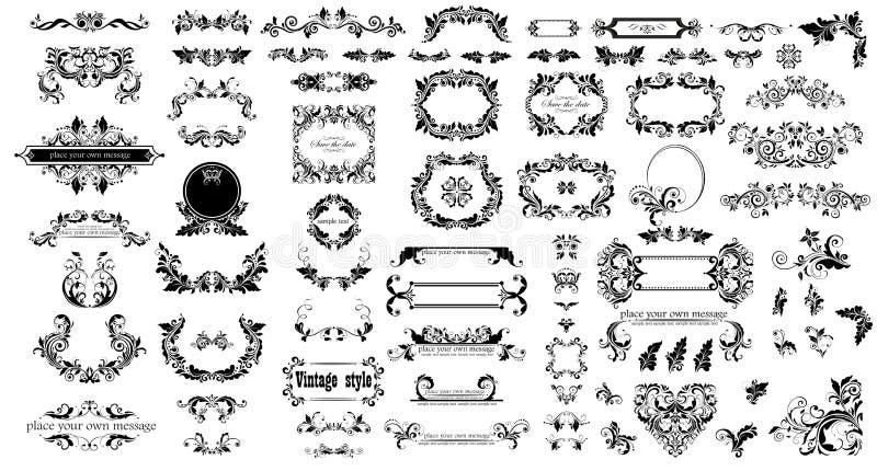Mega uppsättning av ramar, titel och titelrader för dekorativ tappning blom- svarta för att gifta sig och den heraldiska designen royaltyfri illustrationer